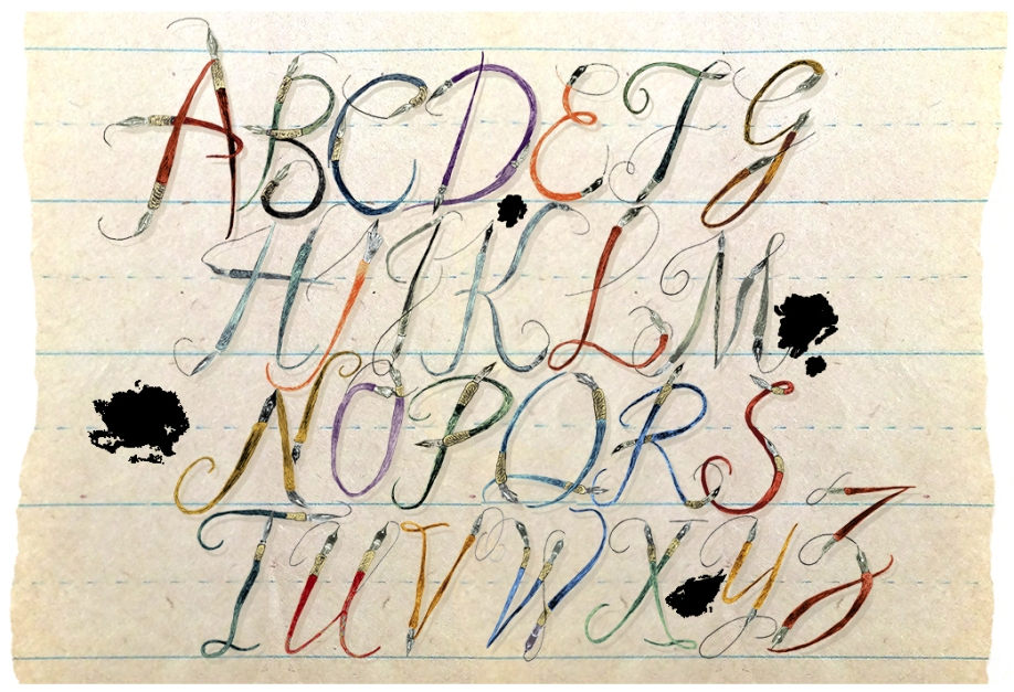 pendemoniumwritinglessonpaper-vintage